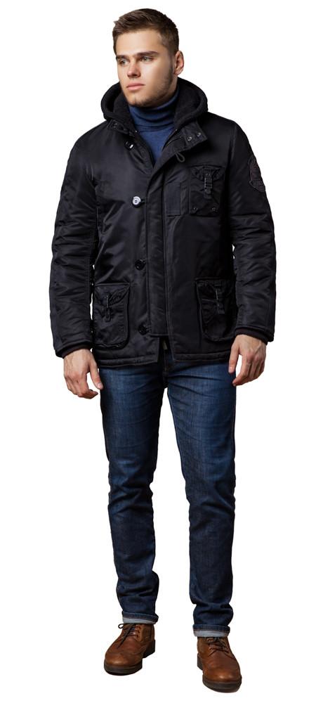 Зимняя парка черная для мужчин модель 17197 (ОСТАЛСЯ ТОЛЬКО 56(3XL))