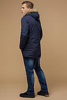 Синя зимова коротка парку для чоловіків модель 14015, фото 3