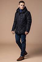 Черная мужская зимняя куртка с капюшоном модель 12481, фото 2