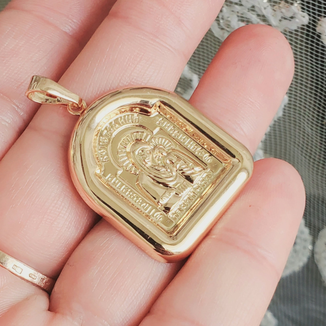 Іконка Xuping Казанська Пресвята Богородиця позолота 18К довжина 3.8 см л210