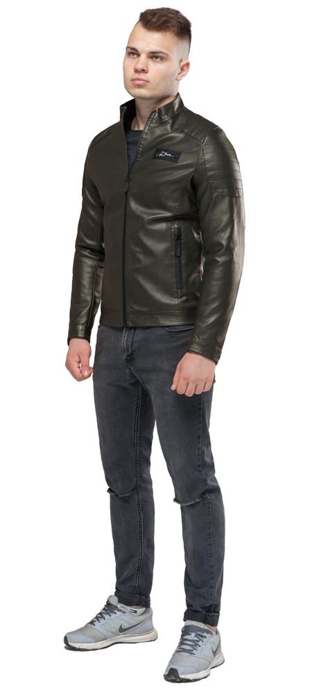 Кожаная мужская куртка цвета хаки модель 36361