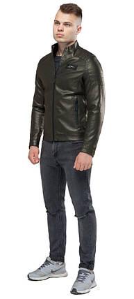 Кожаная мужская куртка цвета хаки модель 36361, фото 2
