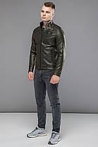 Молодіжна куртка чоловіча осінньо-весняна колір хакі модель 36361, фото 2