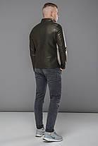 Кожаная мужская куртка цвета хаки модель 36361, фото 3