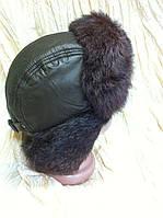 Мужская стильная ушанка из коричневой плащёвки и меха  кролика