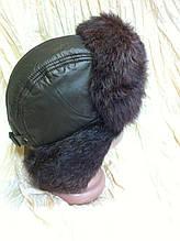 Мужская стильная ушанка из коричневой плащёвки и меха  кролика 56-57
