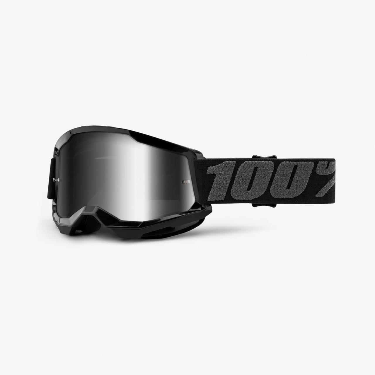 Мотоочки 100% STRATA Goggle II Black - Mirror Silver Lens