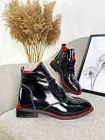 Женские кожаные лаковые демисезонные ботинки 36-40 р чёрный, фото 1