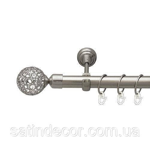 Карниз для штор металевий САВОНА однорядний 25 мм 1.8 м Колір Сталь