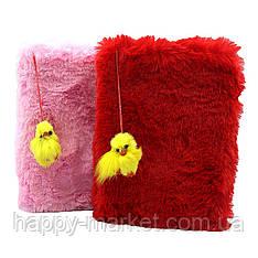"""Блокнот детский А5 меховой №0375 """"Цыплёнок клетка 64л 13,5*19,5, 4цв микс цветов"""