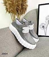 Женские кроссовки из натуральной кожи и замша 37,39,41 р серый, фото 1