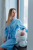 Женский натуральный халат Голубой с вышивкой Edelvika р.XS,S,M,L,XL