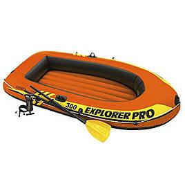 Двухместная надувная лодка Intex Explorer Pro 300 Set, 244х117 см, с веслами и насосом