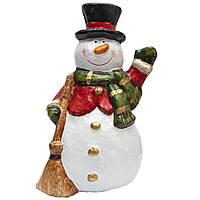 Новогодняя сувенирная фигурка Снеговика в черной шляпе, папье-маше, 22*18, 5*36 см (013470)