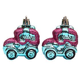 Набор елочных игрушек - машинки, 2 шт, 5,5*5,5 см, голубой, пластик (032310)