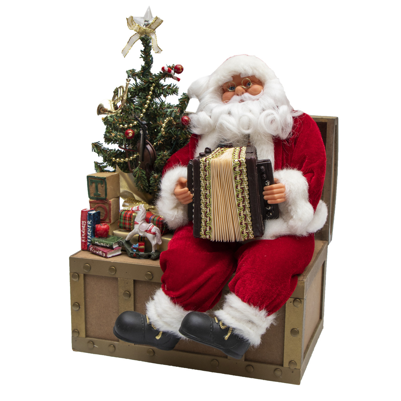 Дед Мороз красный музыкальный сидящий, с аккордеоном, 36 см, красный (230044)