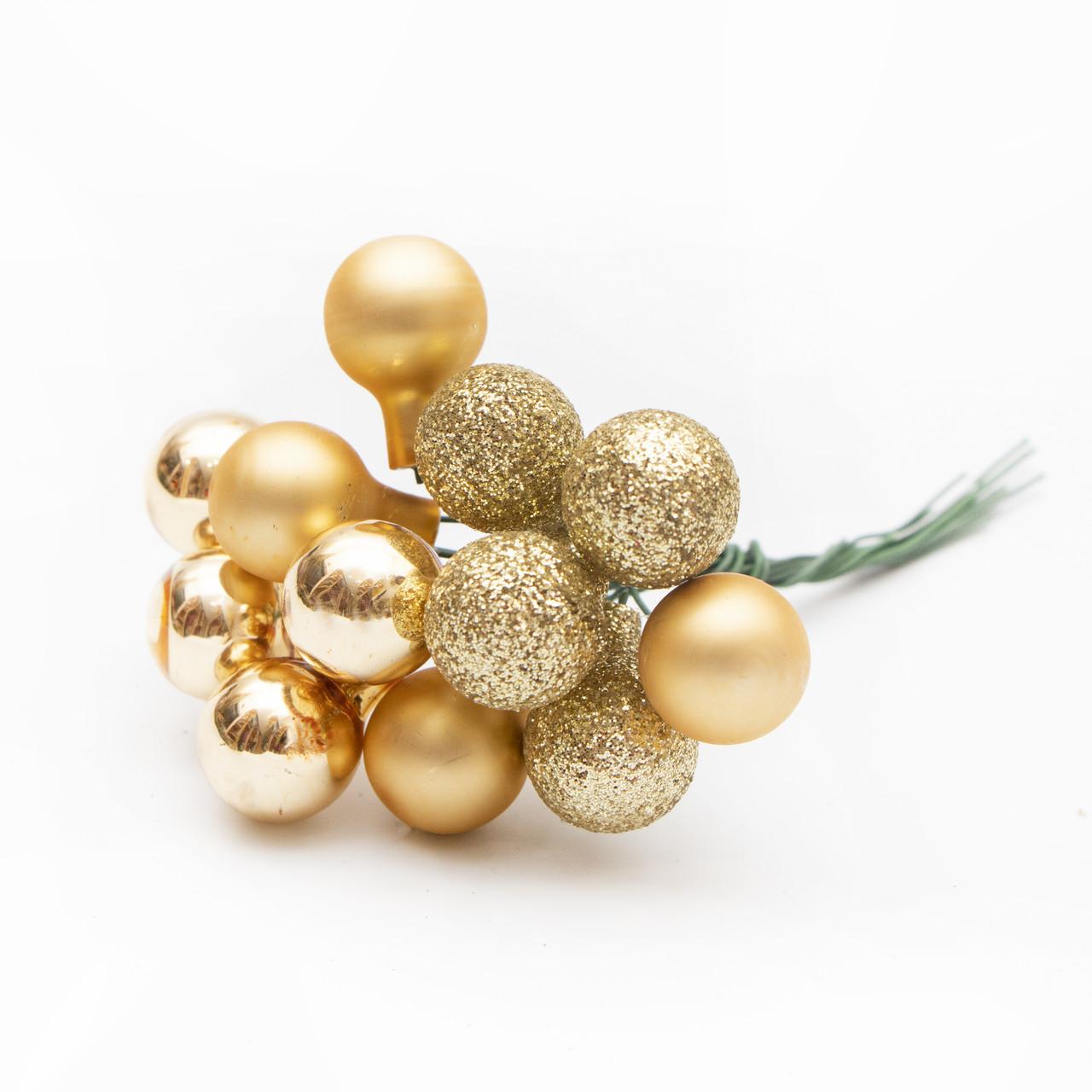 Ялинкова іграшка - гілочка міні-кульок, D1,5 см, золотистий, мікс, скло (390557-2)