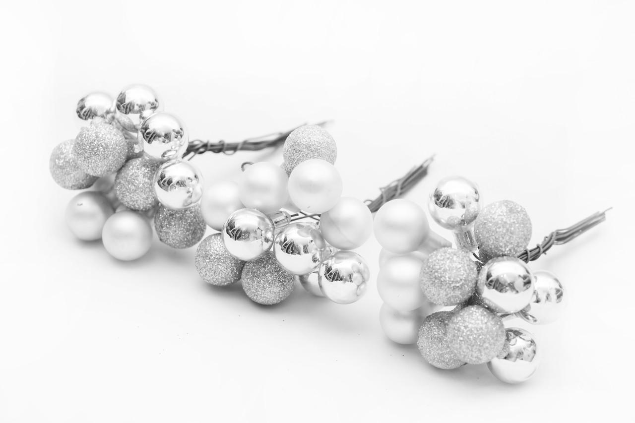 3 веточки шаров 1.5см*12 шт, стекло, серебро (390571-1)