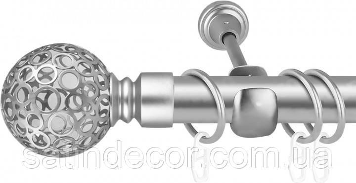 Карниз для штор металевий САВОНА однорядний 25мм 3.6м Сатин нікель
