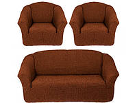 Чехлы на Диван и 2 Кресла без Оборки Универсальный Размер Набор 209, фото 1