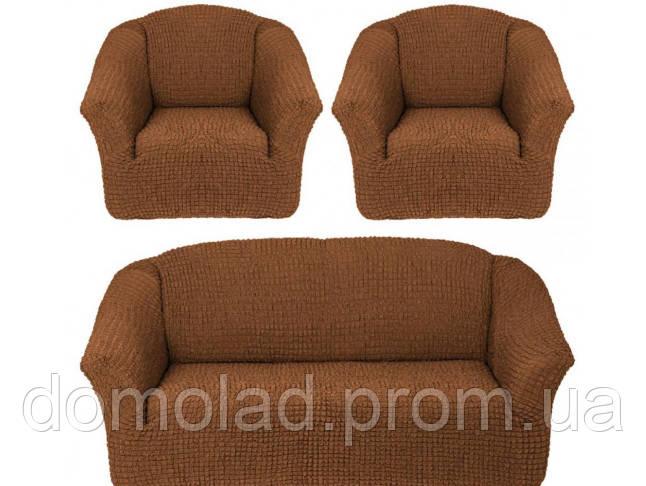 Чехлы на Диван и 2 Кресла без Оборки Универсальный Размер Набор 210