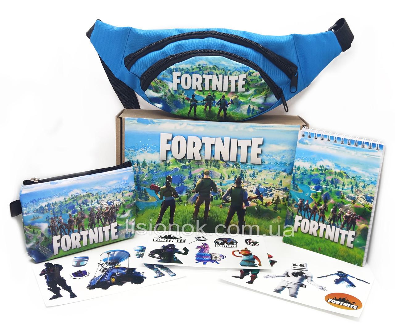 Бокс Фортнайт з бананкою (блокнот, гаманець, наліпки, бананка) - відмінний подарунок фанатам гри Fortnite