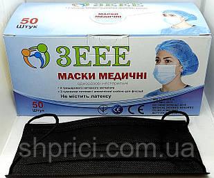 Маска медицинская одноразовая 3-х слойная нестерильная на резинках черная/ 3ЕЕЕ
