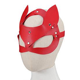 Эротическая кожаная маска кошки Wild Cat красная