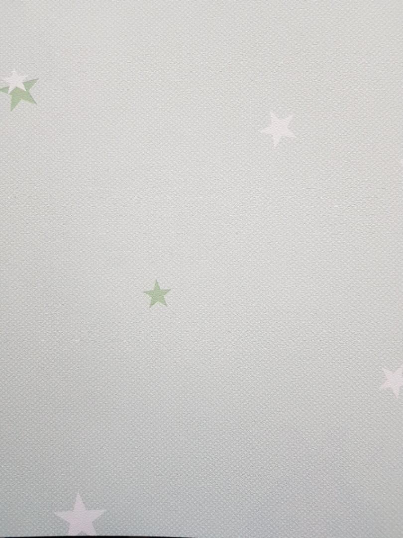 Метровые виниловые обои на флизелине AdaWall Ada Kids детские звезды небо зеленые белые на салатовом
