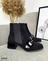 Женские замшевые демисезонные ботильоны на каблуке 36-40 р чёрный, фото 1