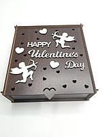"Подарочная коробка для упаковки из ДВП венго ""Valentine`s Day"" 2 ангела"