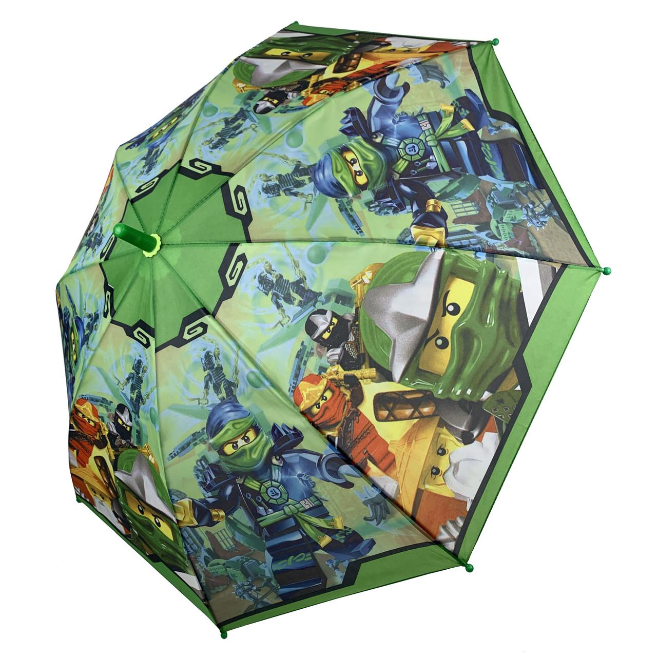 """Дитячий парасольку для хлопчиків """"Лего Ниндзяго"""" від Paolo Rossi, з зеленою ручкою, 017-4"""