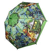 """Дитячий парасольку для хлопчиків """"Лего Ниндзяго"""" від Paolo Rossi, з зеленою ручкою, 017-4, фото 1"""