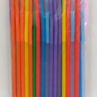 Трубочка пластиковая с длинной гофрой 260 мм. цветная 50 шт.