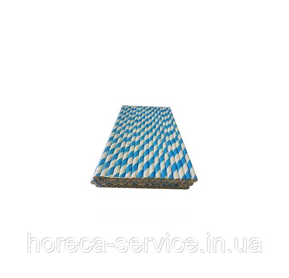 Бумажная трубочка Голубая полоска 50 шт.