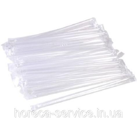 Трубочка в индивидуальной упаковке пластиковая ВIO прозрачная 250 шт.