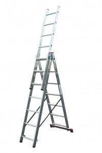 Лестница трехсекционная алюминиевая бытовая KRAUSE Corda 3*7 ступеней