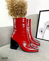 Женские кожаные лаковые демисезонные ботильоны на каблуке 36-40 р красный, фото 1