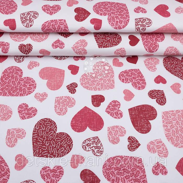 """Ранфорс """"Сердечка з гілочками всередині"""" червоно-рожеві, фон - білий, ширина 240 см (№3246)"""