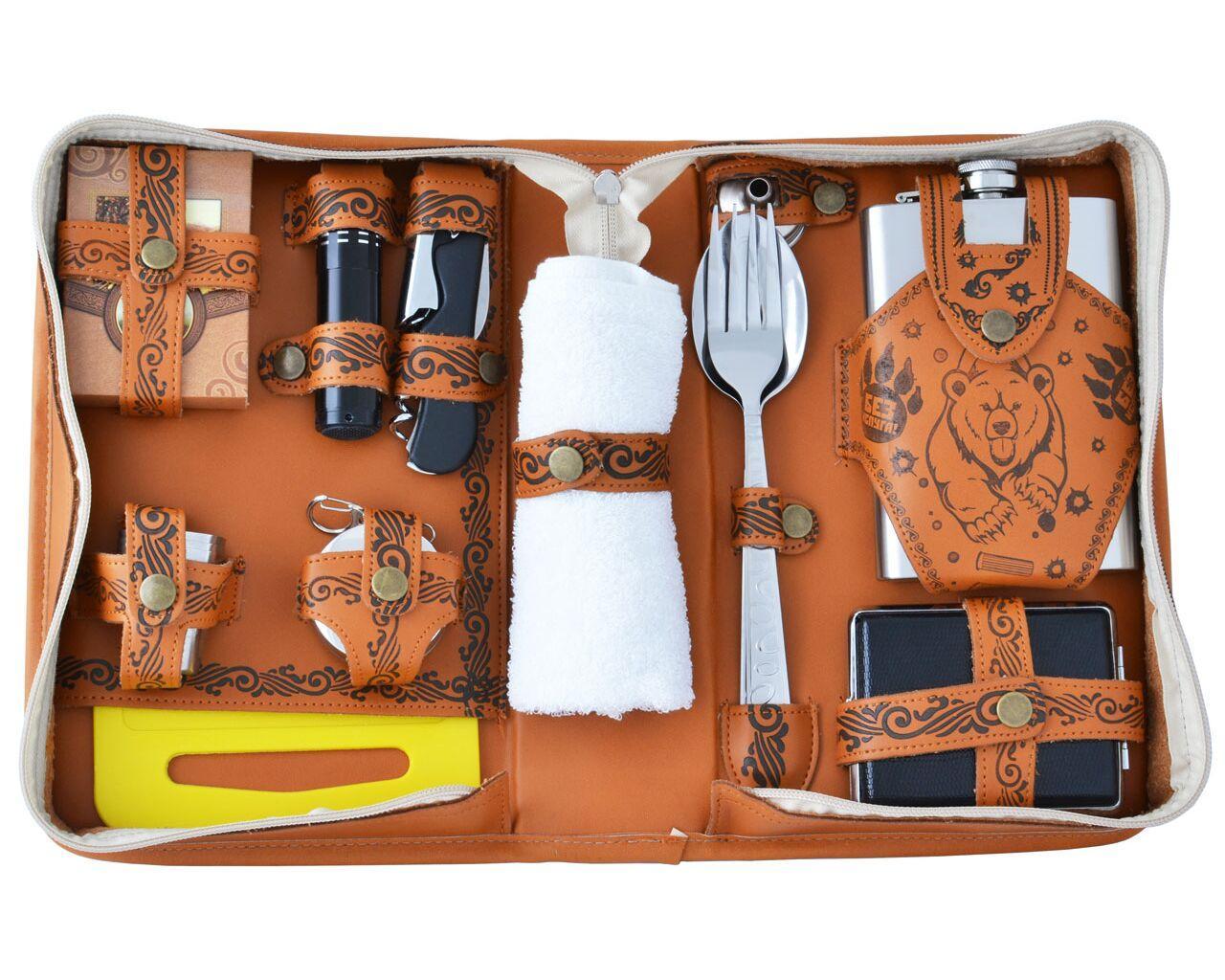 Подарочный набор с флягой в кожаной сумке Гранд Презент XPB-2