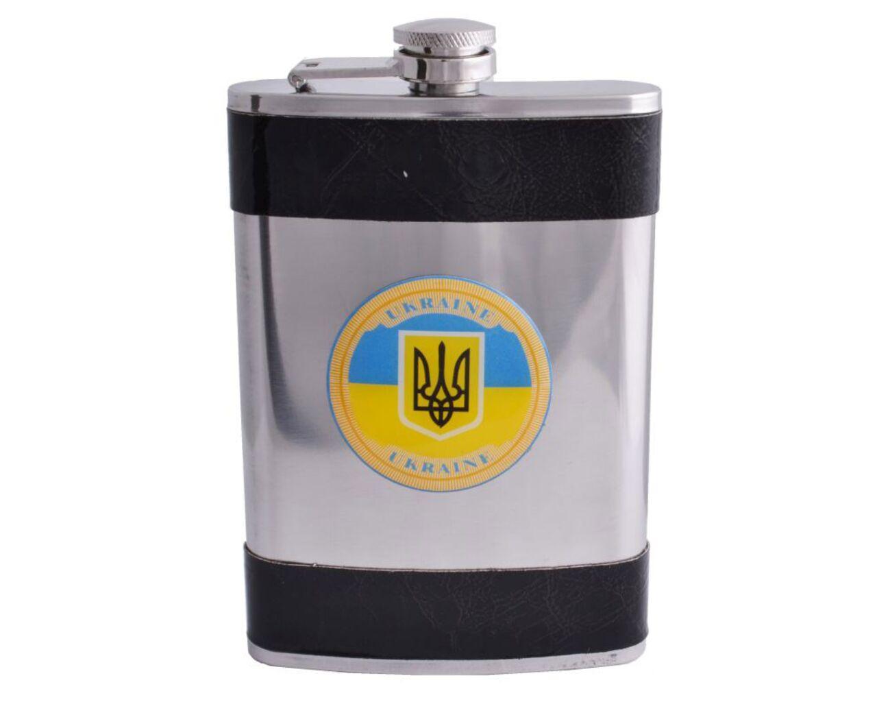 Фляга кожа герб Украина 270 мл Гранд Презент F-179-14