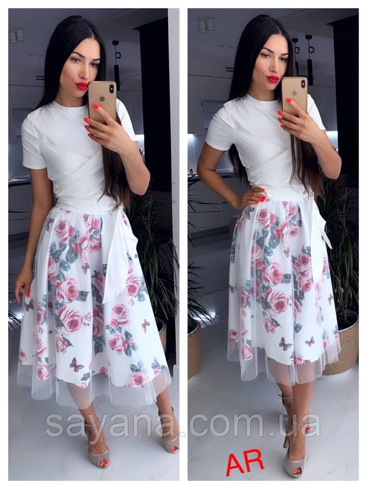 Женский костюм с цветастой юбкой, 2 цвета. АР-53-0121