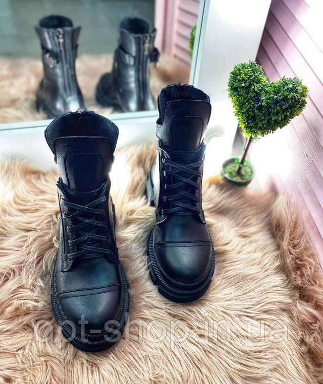 Ботинки сапоги женские кожаные демисезонные берцы черные, женские демисезонные сапоги ботинки от производителя