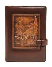 """Ежедневник В6 в кожаной обложке с не датированным сменным блоком """"Хуторок"""". Цвет коричневый"""