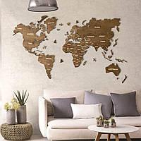 Деревянная карта мира на стену из дерева - Однослойная/Настенная/Декоративная
