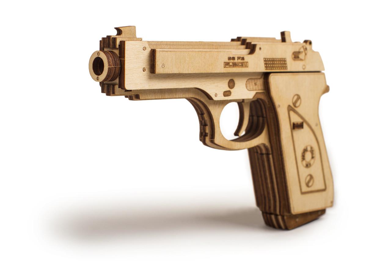 Собранная модель конструктора Пистолет. Сувенир из дерева Wood trick. Гарантия качества (Опт, дропшиппинг)