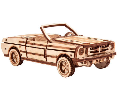 Собранная модель конструктора Кабриолет. Сувенир из дерева Wood trick Кабриолет. (Опт, дропшиппинг), фото 2