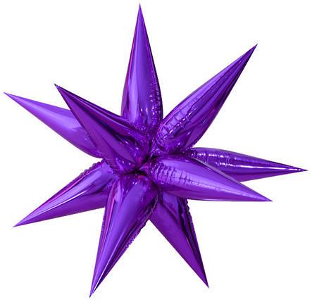 """Фол шар 26"""" (66 см) Звезда составная (колючка) фиолетовая (Китай), фото 2"""