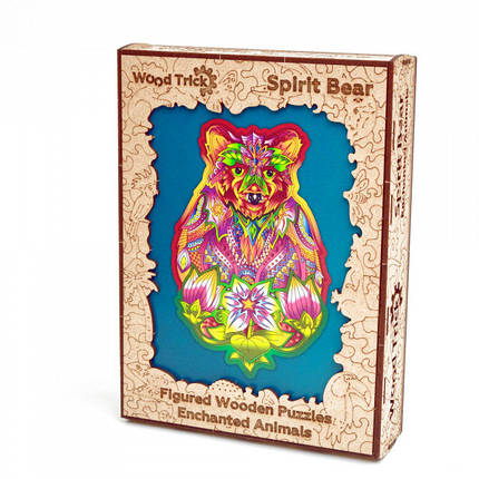 Дерев'яний пазл Натхненний Ведмідь Wood Trick. Фігурний пазл Spirit Bear (опт, дропшиппинг)., фото 2