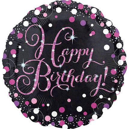 """Круг 18"""" ANAGRAM-АН Happy Birthday - розовое конфетти на черном (УП), фото 2"""